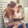 Happy Family Mother Child Little Girl Reading  Book